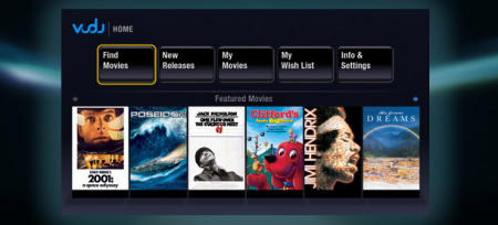 Vudu media streamer showing movies for streaming from your set top box