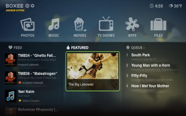Boxee Box homescreen