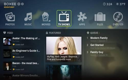 Boxee homescreen